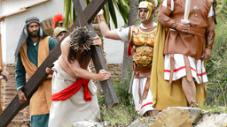 Christ is whipped Calvary Road theatrical representation of the Passion Footage