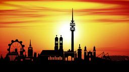 Munich city skyline sunset, timelapse Animation