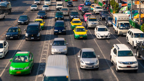CITY TRAFFIC IN BANGKOK - TIME LAPSE Stock Video Footage