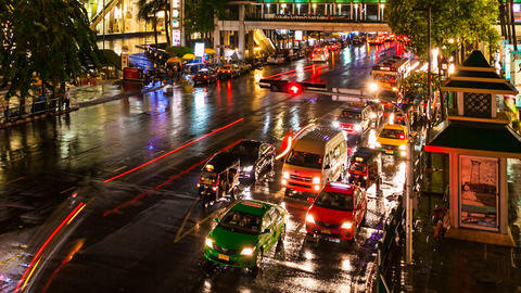 COLORFUL TRAFFIC AT NIGHT - TIME LAPSE Stock Video Footage