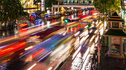 COLORFUL TRAFFIC AT NIGHT - TIME LAPSE Footage