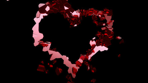 Shattered glass: red broken heart shape. Alpha is included Stock Video Footage