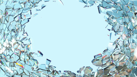 Shattered window glass with slow motion and blue sky. Alpha is included Animation