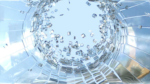 Shattered glass with slow motion and blue sky. Alpha is included Animation
