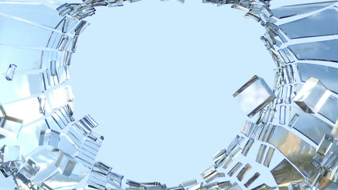 Shattered glass with slow motion and blue sky. Alpha is... Stock Video Footage