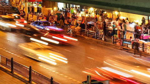 CITY TRAFFIC AT NIGHT - BANGKOK TIME LAPSE Footage