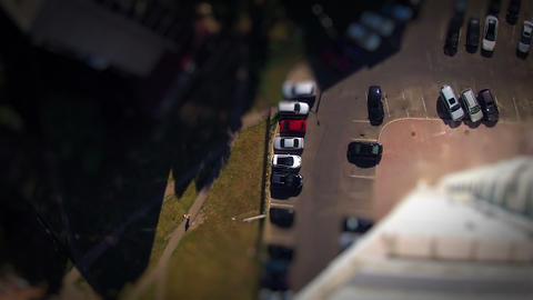 View out the window. Timelapse. Tilt Shift Stock Video Footage