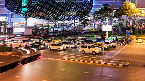 COLORFUL NIGHT TRAFFIC TIME LAPSE - BANGKOK Stock Video Footage