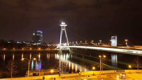 Night traffic on the bridge across the Dunai in Bratislava, Slovakia Footage