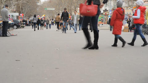 Street filled with a very busy anonymous crowd (sl Stock Video Footage
