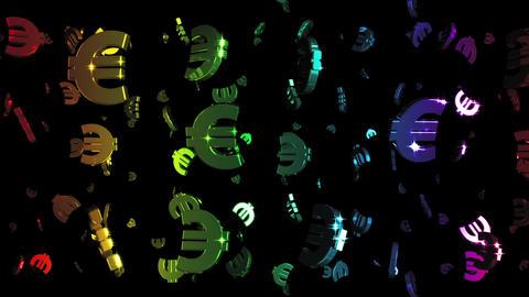 Looping Rainbow Euros Falling Animation