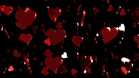 Looping Red and Purple Hearts Falling Animation