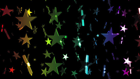Looping Rainbow Stars Falling Animation