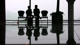 Abstract shot of two people waiting at Beijing Int Stock Video Footage