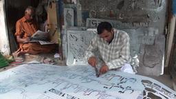 Making huge aluminium banners in Pakistan Stock Video Footage