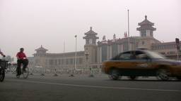 Traffic in front of the Beijing Railway Station Stock Video Footage