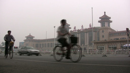 Traffic in front of the Beijing Railway Station Footage