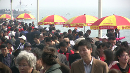 Crowded tourist area in China Footage