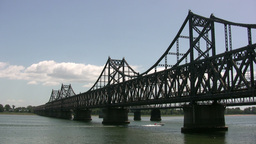 Bridge from China to North Korea Stock Video Footage