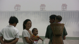Future generations at Three Gorges Dam Stock Video Footage