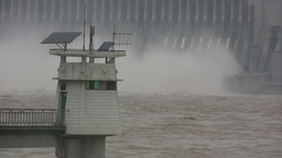 Lighthouse in front of Three Gorges Dam Stock Video Footage