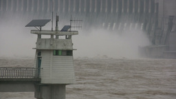 Lighthouse in front of Three Gorges Dam Footage