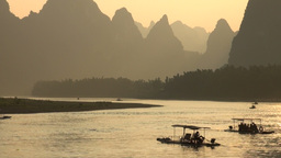 Sunset over the Li river in the Yangshuo area in C Footage