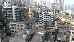 Old town and skyline of Chongqing from cable car Stock Video Footage