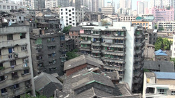 Old town and skyline of Chongqing from cable car Footage