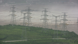 Power lines near Three Gorges Dam in China Stock Video Footage