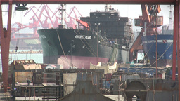 Ship construction in China Stock Video Footage