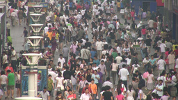 Crowded shopping street in China Stock Video Footage