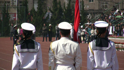 Student military parade - white uniforms and flag Footage