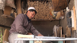 Traditional wood cutting shop in old town of Kashg Stock Video Footage