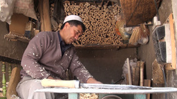 Traditional wood cutting shop in old town of Kashg Footage