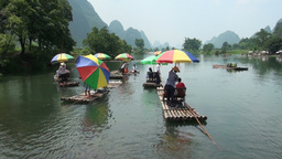 Chinese tourists on rafts in Yangshuo Footage