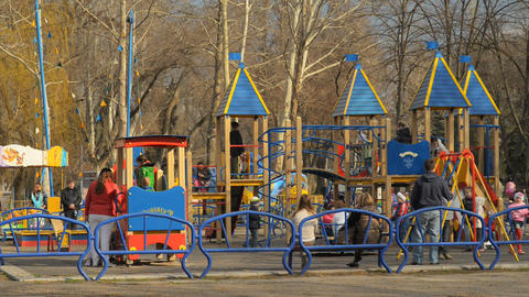 Playground and lots of children playing Stock Video Footage