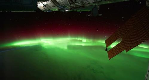 4 K Space Station 04 Aurora Borealis Stock Video Footage