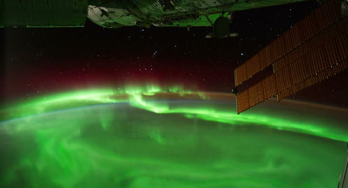 4 K   Space   Station  04  Aurora   Borealis stock footage