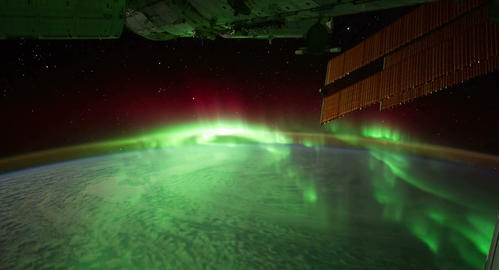 4 K Space Station 04 Aurora Borealis Stock Video Footage