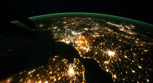 4 K Space Station 17 Western Europe Arabia Stock Video Footage