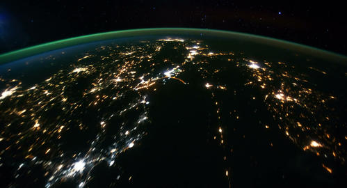 4 K Space Station 17 Western Europe Arabia Stock Video Footage