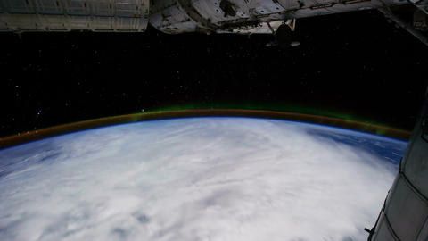 Space Station 05 Aurora Borealis Stock Video Footage