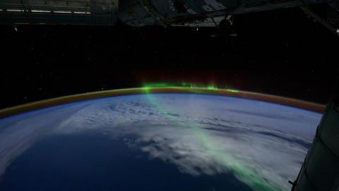 Space Station 05 Aurora Borealis Stock Video Footage