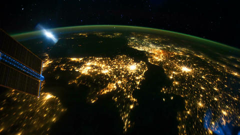 Space Station 07 Europe India Stock Video Footage