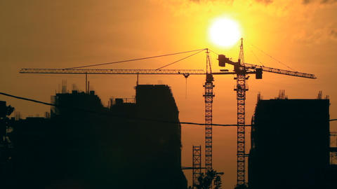 Sunrise Time Lapse With Construction Background stock footage