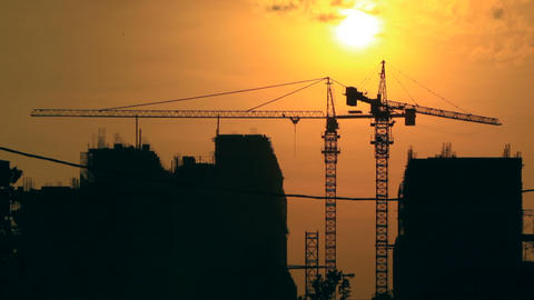 Sunrise Time Lapse With Construction Background Stock Video Footage