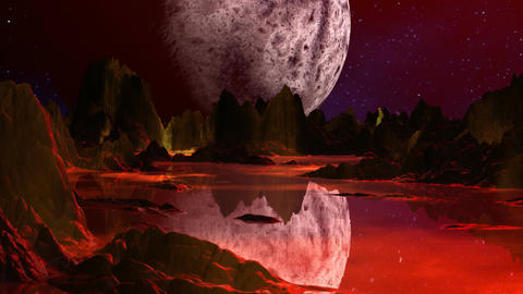 Red planet and huge moon Animation