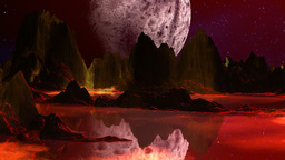 Red planet and huge moon Stock Video Footage