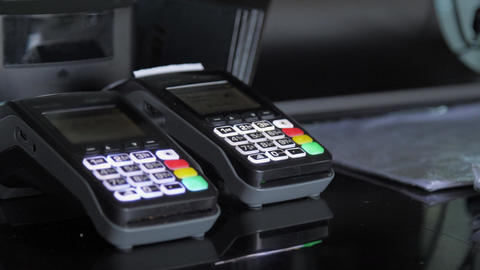 Black plastic portable terminals with illuminated buttons Live Action